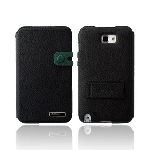 Original Zenus Samsung Galaxy Note Masstige Color Edge Diary Series Leather Case w/ ID Slots & Kickstand, SAGXN-MP5DY-BK - Black/ Green