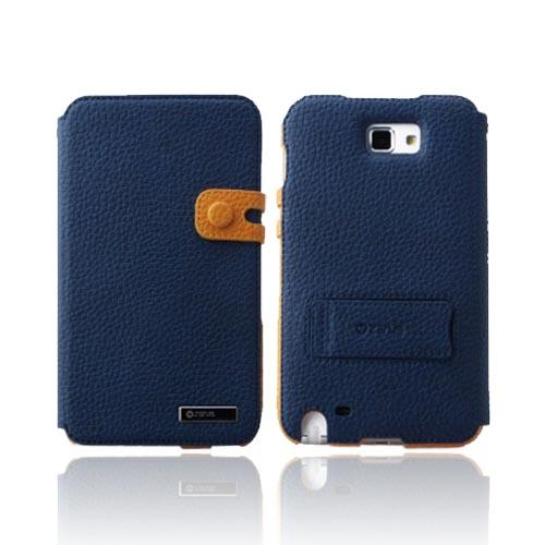 Original Zenus Samsung Galaxy Note Masstige Color Edge Diary Series Leather Case w/ ID Slots & Kickstand, SAGXN-MP5DY-NV - Navy Blue/ Yellow
