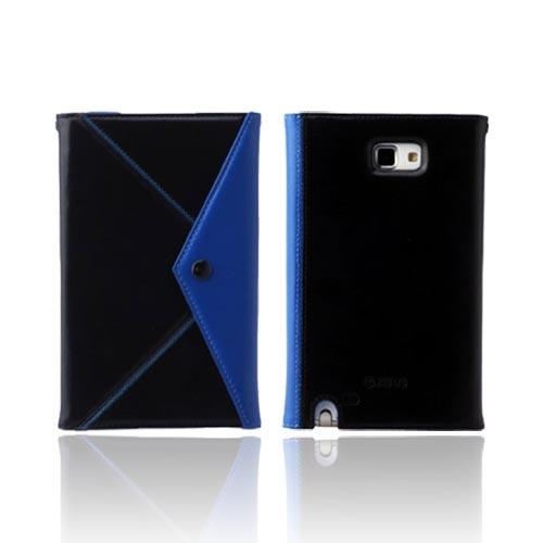 Original Zenus Samsung Galaxy Note Prestige Origami Diary Series Leather Case w/ Wrist Strap, SAGXN-PG5DY-BKBU - Black/ Blue