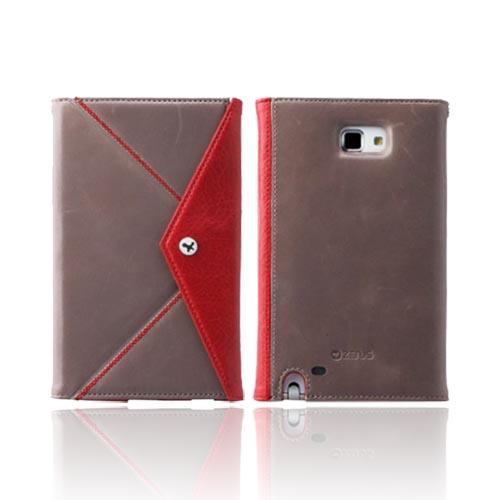 Original Zenus Samsung Galaxy Note Prestige Origami Diary Series Leather Case w/ Wrist Strap, SAGXN-PG5DY-GYRD - Jazz Gray/ Red
