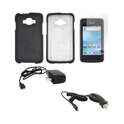 Samsung Rugby Smart i847 Essential Bundle Package w/ Black Rubberized Hard Case, Screen Protector, Car & Travel Charger