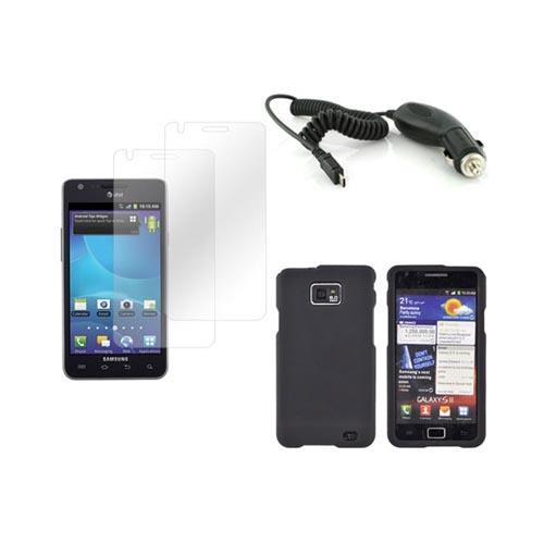 AT&T Samsung Galaxy S2 Basic Bundle Package w/ Black Rubberized Hard Case, 2 Pack Screen Protector, and Car Charger