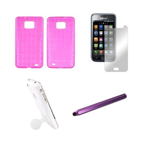 AT&T Samsung Galaxy S2 Essential Bundle Package w/ Hot Pink Crystal Silicone Case, Mirror Screen Protector, White Suction Ball Stand, & Purple Metal Pen Stylus