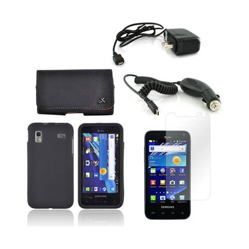 Samsung Captivate Glide i927 Essential Bundle Package w/ Black Rubberized Hard Case, Screen Protector, Leather Pouch, Car & Travel Charger