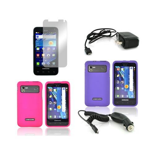 Samsung Captivate Glide i927 Essential Girly Bundle Package w/ Hot Pink & Purple Rubberized Hard Case, Mirror Screen Protector, Car & Travel Charger