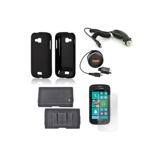 Samsung ATIV Odyssey Essential Bundle Package w/ Black Rubberized Hard Case, Screen Protector, Leather Pouch, Car & Travel Charger