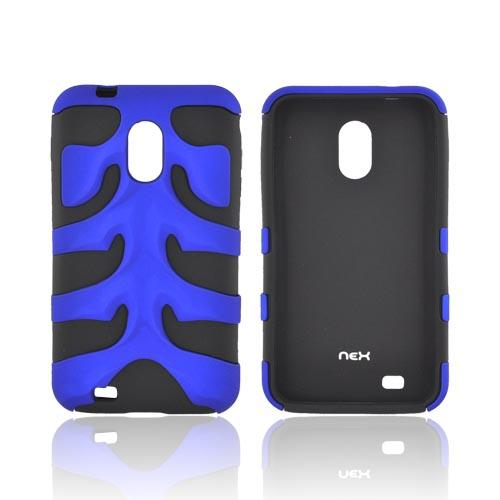 Original Nex Samsung Epic 4G Touch Rubberized Hard Fishbone on Silicone Case w/ Screen Protector, SAMD710FB06 - Blue/ Black