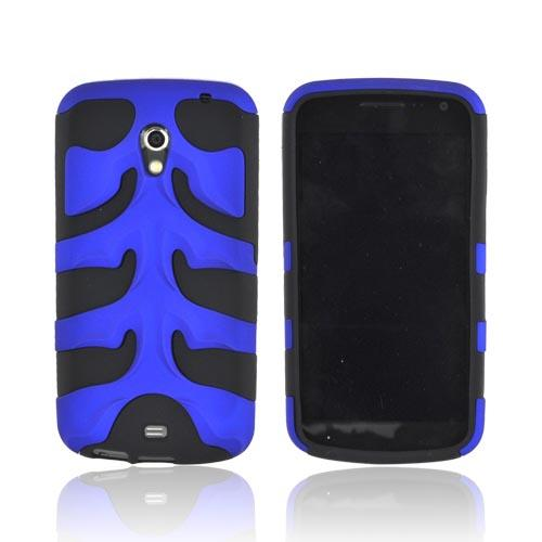 Original Nex Samsung Galaxy Nexus Rubberized Hard Fishbone on Silicone Case w/ Screen Protector, SAMI515FB06 - Blue/ Black