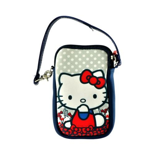 Hello Kitty Milk Bottles Universal Camera & Phone Neoprene Pouch w/ Wrist Strap
