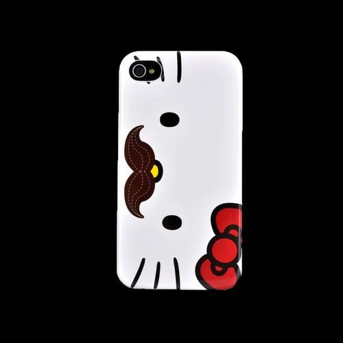 Original Hello Kitty Apple iPhone 4/4S Hard Back Cover Case, SANCC0073 - Mustache Hello Kitty on White