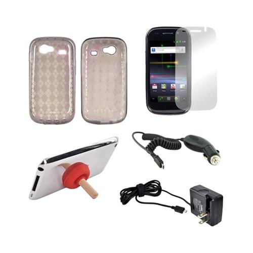 Google Nexus S 4G Essential Bundle Package w/ Smoke Crystal Silicone Case, Mirror Screen Protector, Red Plunger Stand, Car & Travel Charger