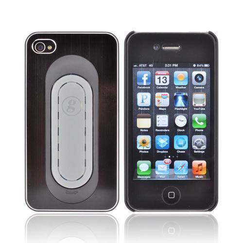 Apple iPhone 4/4S Hard Aluminum Case w/ Pop Out Flexi Stand Holder - Black/ Gray