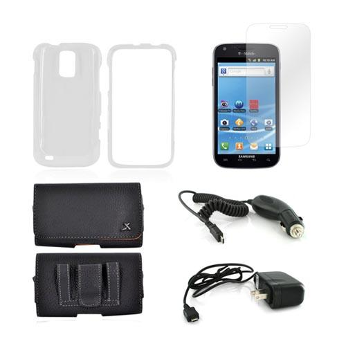 T-Mobile Samsung Galaxy S2 Essential Bundle Package w/ Clear Plastic Case, Screen Protector, Leather Pouch, Car & Travel Charger