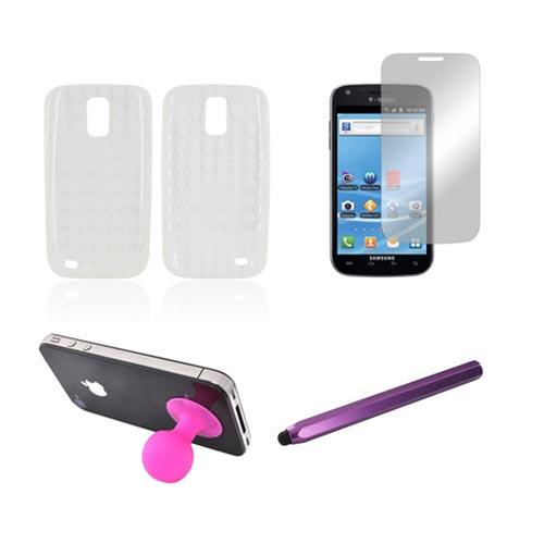 T-Mobile Samsung Galaxy S2 Essential Bundle Package w/ Clear Crystal Silicone Case, Mirror Screen Protector, Hot Pink Plunger Stand, & Purple Metal Pen Stylus