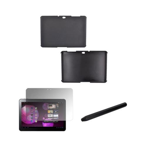 Samsung Galaxy Tab 10.1 Essential Bundle Package w/ Blue Rubberized Hard Case, Screen Protector & Black Metal Pen Stylus