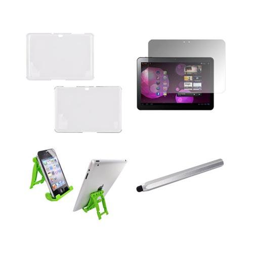 Samsung Galaxy Tab 10.1 Essential Bundle Package w/ Clear Hard Case, Screen Protector, Green Lime 3Feet Stand, & Silver Metal Pen Stylus
