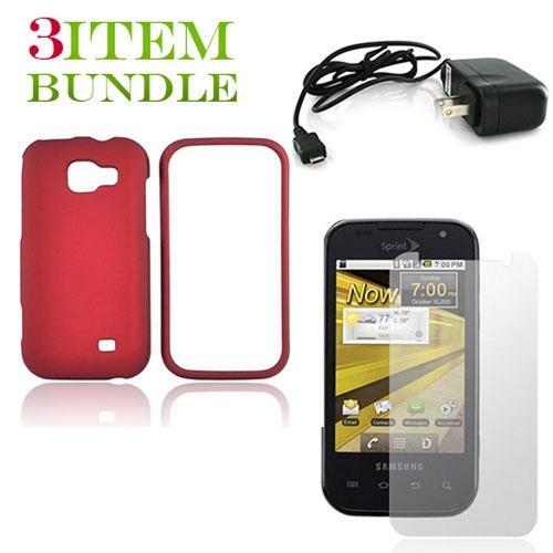 Samsung Transform Bundle Package - Red Hard Case, Screen Protector & Travel Charger - (Essential Combo)