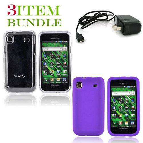 Samsung Vibrant Bundle Package - Clear Hard Case, Silicone Case & Travel Charger - (Essential Combo)