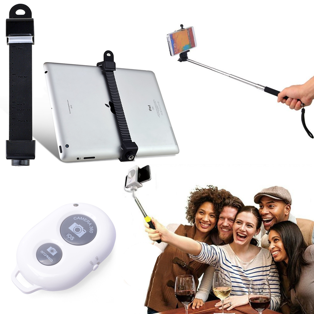 black extendable selfie stick for tablet ipad w bluetooth shutter remote ebay. Black Bedroom Furniture Sets. Home Design Ideas