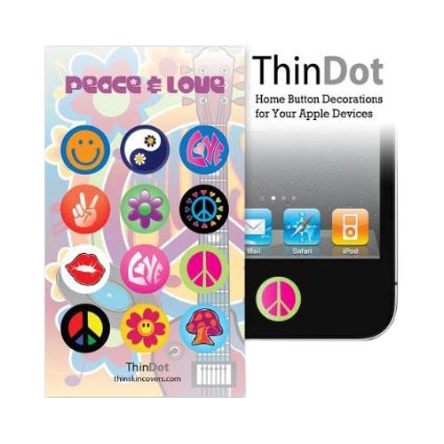 Original ThinDot Universal Apple iPhone/ iPod/ iPad Home Button Stickers - Peace & Love