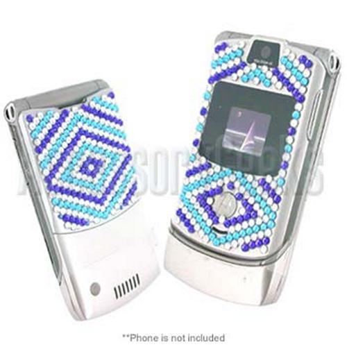 Blue with Clear Bling Bling Sticker for Motorola RAZR V3