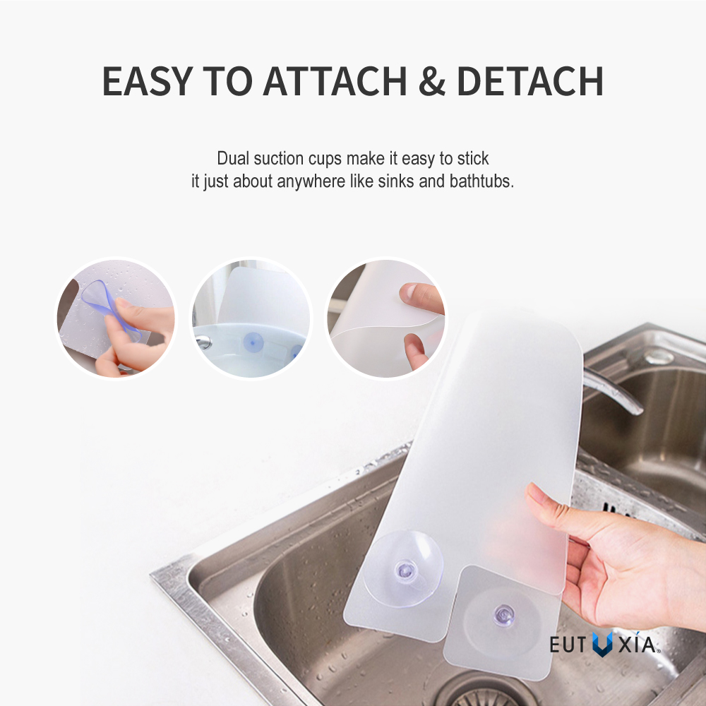 Silicone sink splash guard w suction cups ebay for Splash guard kitchen sink