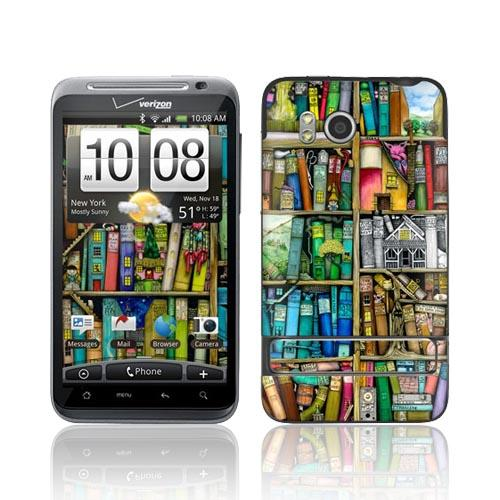 Original GelaSkins HTC Thunderbolt Protective Skin - Colorful Bookshelf