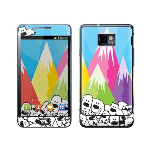 Original GelaSkins Samsung Galaxy S2 Protective Skin - Monsters w/ Colorful Mountain View (INTERNATIONAL VERSION)