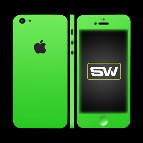 OEM SlickWraps Apple iPhone 5 Protective Skin & Screen Protector - Glow in the Dark Green