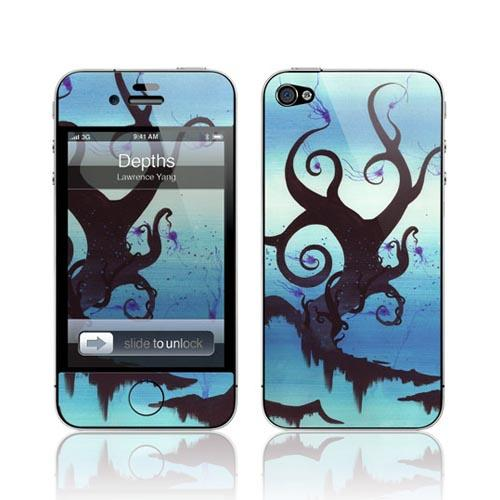 Original GelaSkins AT&T/ Verizon Apple iPhone 4 Protective Skin - Blue/ Green Depths