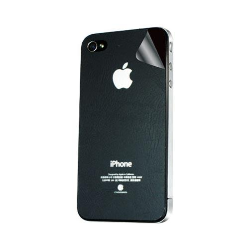 Original Hornettek AT&T/ Verizon Apple iPhone 4, iPhone 4S Scratch-Resistant Protective Skin w/ Screen Protector - Black Leather Texture