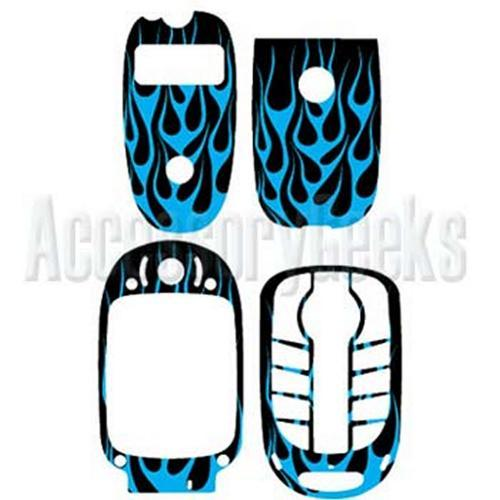 Motorola V551 / V547 / V555 / V557 / V330 Blue Flame on Black Cell Phone Skin