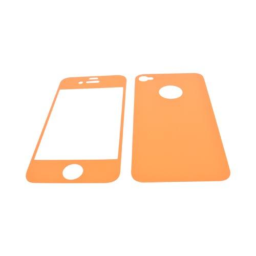 AT&T/ Verizon Apple iPhone 4, iPhone 4S Screen Protector & Protective Skin (Front & Back) - Orange