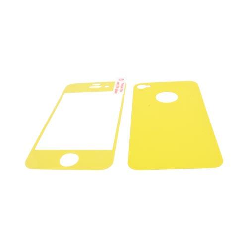 AT&T/ Verizon Apple iPhone 4, iPhone 4S Screen Protector & Protective Skin (Front & Back) - Yellow