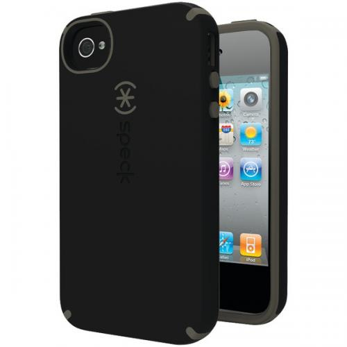 SPECK SPK-A0808 IPHONE(R) 4S CANDYSHELL SATIN CASE (BLACK/DARK GRAY)