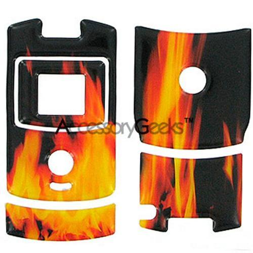 Motorola RAZR V3 3D Vinyl Sticker - Fire on Black