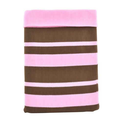 Apple iPad (1st Gen) Sock Cover - Brown Stripes on Baby Pink