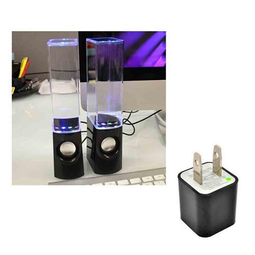 Multi-Colored Illuminated Dancing Water Speakers w/ USB Cable, 3.5mm Cord, & Wall Charger Adapter