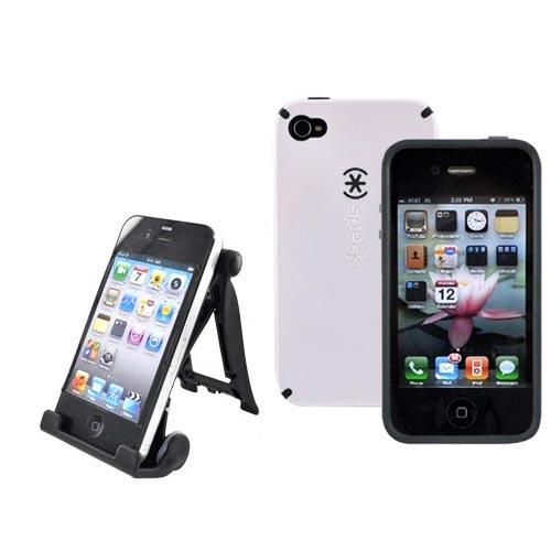AT&T Apple iPhone 4 Speck White Speck CandyShell Case and 3Feet Holder Stand Bundle