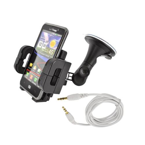 Starter Driving Package w/ Universal 6ft Auxiliary Cable & Universal Windshield Mount Phone Holder