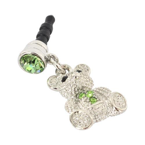 Universal 3.5mm Headphone Jack Stopple Charm - Silver Teddy Bear w/ Green Gems