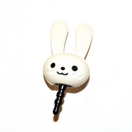 Universal 3.5mm Headphone Jack Stopple Charm - Cute White Bunny