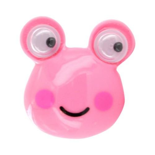 Universal 3.5mm Headphone Jack Stopple Charm - Pink Frog w/ Googly Eyes