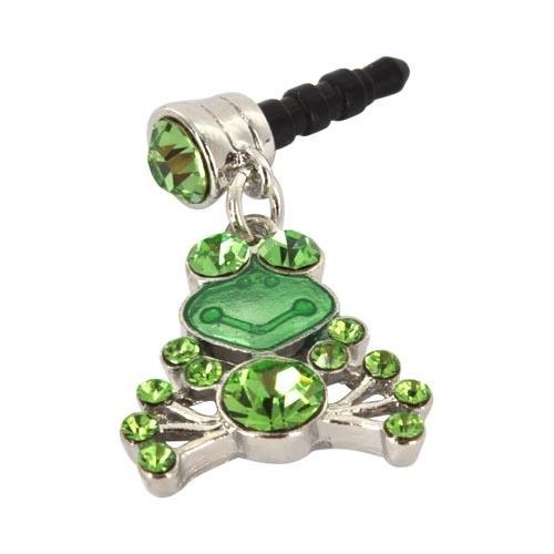 Universal 3.5mm Headphone Jack Stopple Charm - Frog w/ Green Gems