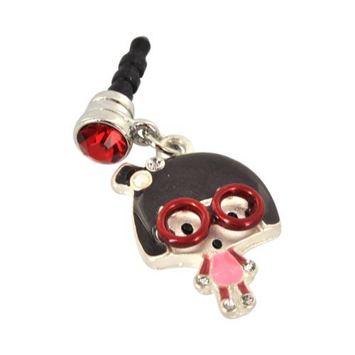 Universal 3.5mm Headphone Jack Stopple Charm - Geek Girl w/ Red Glasses and Silver Gems