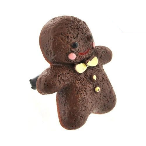 Universal 3.5mm Headphone Jack Stopple Charm - Brown Gingerbread Man