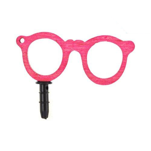 Universal 3.5mm Headphone Jack Stopple Charm - Pink Geek Glasses