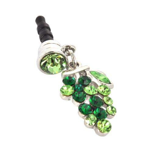 Universal 3.5mm Headphone Jack Stopple Charm - Grape w/ Green Gems