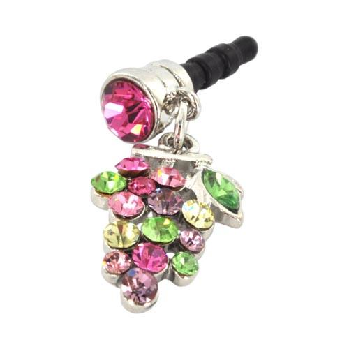 Universal 3.5mm Headphone Jack Stopple Charm - Grape w/ Multi-Colored Gems