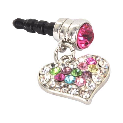 Universal 3.5mm Headphone Jack Stopple Charm - Silver Heart w/ Multi-Colored Gems